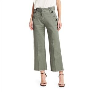 Derek Lam Wide Leg Twill trouser w/ button detail